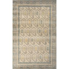 Contemporary Tribal Pattern Ivory/Blue Wool Area Rug (8X11)