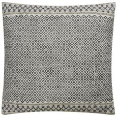 """Traditional & Classic Pattern Ivory/Black Viscose And Wool Down Fill Pillow ( 18""""X18"""")"""