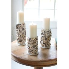 Oyster Shell Pillar Candle Holders Set of 3