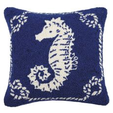 Seahorse Nautical Hook Pillow 16X16 in.