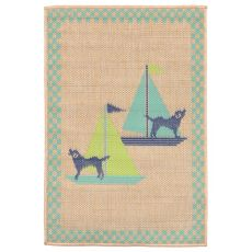 "Liora Manne Playa Sailing Dogs Indoor/Outdoor Rug - Blue, 23"" by 35"""