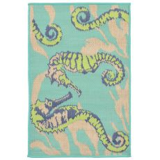 "Liora Manne Playa Seahorses Indoor/Outdoor Rug - Blue, 23"" by 35"""