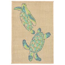"Liora Manne Playa Seaturtles Indoor/Outdoor Rug - Natural, 23"" by 35"""