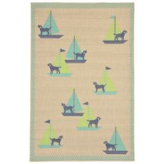"Liora Manne Playa Sailing Dogs Indoor/Outdoor Rug - Blue, 4'10"" by 7'6"""
