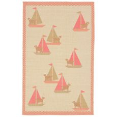 "Liora Manne Playa Sailing Dogs Indoor/Outdoor Rug - Orange, 4'10"" by 7'6"""