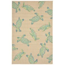 "Liora Manne Playa Seaturtles Indoor/Outdoor Rug - Natural, 4'10"" by 7'6"""