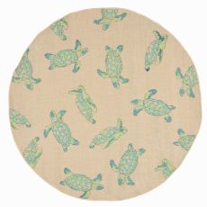 "Liora Manne Playa Seaturtles Indoor/Outdoor Rug - Natural, 7'10"" by 7'10"""