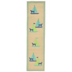 "Liora Manne Playa Sailing Dogs Indoor/Outdoor Rug - Blue, 23"" by 7'6"""