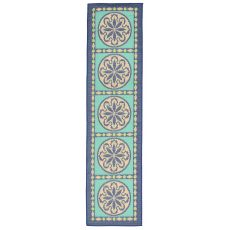 "Liora Manne Playa Tile Indoor/Outdoor Rug - Blue, 23"" by 7'6"""