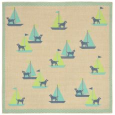 "Liora Manne Playa Sailing Dogs Indoor/Outdoor Rug - Blue, 7'10"" by 7'10"""
