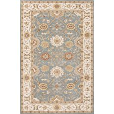 Classic Oriental Pattern Blue/Ivory  Wool Area Rug (9X12)