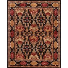 Classic Oriental Pattern Black/Red  Wool Area Rug (9X12)