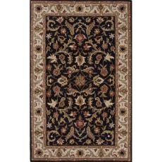 Classic Oriental Pattern Black/White Wool Area Rug (9X12)