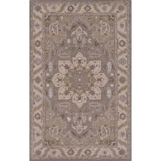 Classic Oriental Pattern Gray/Ivory Wool Area Rug (9X12)