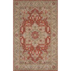 Classic Oriental Pattern Red/Taupe Wool Area Rug (9X12)
