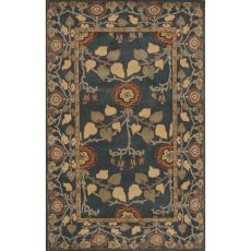 Classic Floral & Leaves Pattern Blue Wool Area Rug (9X12)