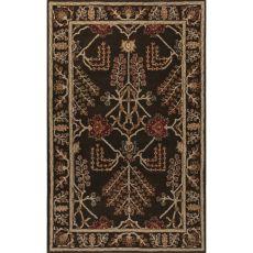 Classic Oriental Pattern Dark Gray Wool Area Rug (9X12)