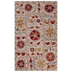 Classic Tribal Pattern Ivory/Red Wool Area Rug (9x12)