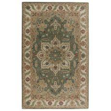 Classic Oriental Pattern Green/Neutral Wool Area Rug ( 8x10)