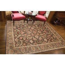 Classic Oriental Pattern Brown/Taupe  Wool Area Rug (9X12)