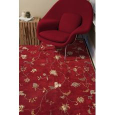 Classic Floral & Leaves Pattern Red/Ivory  Wool Area Rug (9X12)