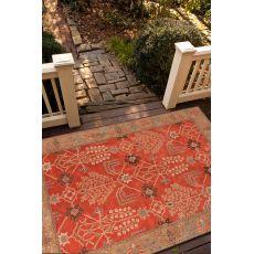 Classic Oriental Pattern Orange/Brown  Wool Area Rug (9X12)