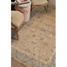Classic Oriental Pattern Taupe/Blue  Wool Area Rug (9X12)