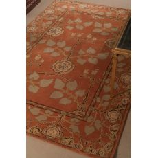 Classic Floral & Leaves Pattern Orange/Green  Wool Area Rug (9X12)
