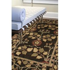 Classic Floral & Leaves Pattern Brown/Yellow  Wool Area Rug (9X12)