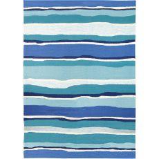 Sea Breeze Blues Indoor Outdoor Hand Hooked Area Rug, 3 X 5 Ft.