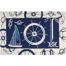 "Blue & White Nautical Polypropylene Rug, 22""X34"""