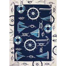 Blue & White Nautical Polypropylene Rug, 5'X7'