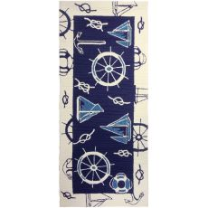 "Blue & White Nautical Polypropylene Rug, 26""X60"""