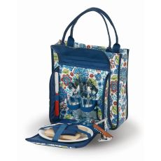 Cabernet 2 Person Picnic Tote, Blue Peacock