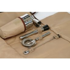 Cotton Canvas Cocktail Bar Tool Roll Up, Brown