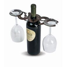 Steel Laser Cut Wine Glass Caddy, Horseshoes