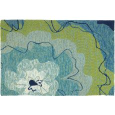 Watercolor Blue Blossom Indoor Outdoor Hand Hooked Area Rug, 22 X 34 In.