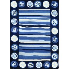 Coastal Stripes And Shells Indoor Outdoor Hand Hooked Area Rug, 8 X 10 Ft.