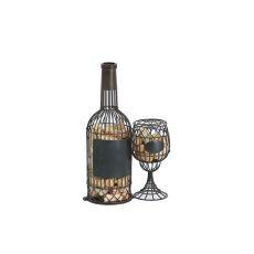 Metal Bottle-Glass Wine Cork Caddy