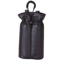Vegan Leather Double Bottle Pouch, Black Faux Leather