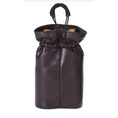 Vegan Leather Double Bottle Pouch, Brown Faux Leather