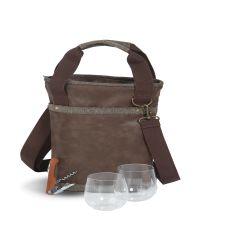 Vegan Leather Omega Single Bottle Bag , Espresso