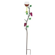 Metal Grapevine Wine Glass Holder Ground Stake, Vineyard
