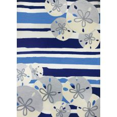 Sand Dollar On Blue Stripes Polypropylene Rug, 5'X7'