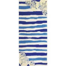 "Sand Dollar On Blue Stripes Polypropylene Rug, 26""X60"""