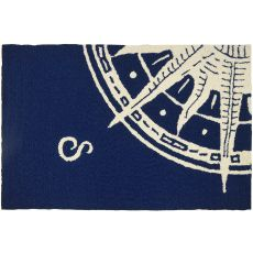 Sailors Compass Indoor Outdoor Hand Hooked Area Rug, 22 X 34 In.