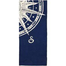 Sailors Compass Indoor Outdoor Hand Hooked Rug, 26 X 60 Runner