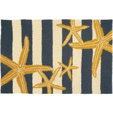 Starfish Gunmetal and Gold Indoor Outdoor Hand Hooked Area Rug, 22 X 34 In.