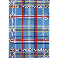 Nautical Plaid Indoor Outdoor Rug, 3 x 5 ft.