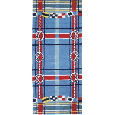Nautical Plaid Indoor Outdoor Rug, 26 x 60 in.